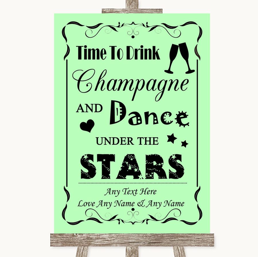 Green Drink Champagne Dance Stars Customised Wedding Sign