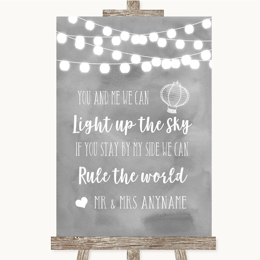 Grey Watercolour Lights Light Up The Sky Rule The World Wedding Sign