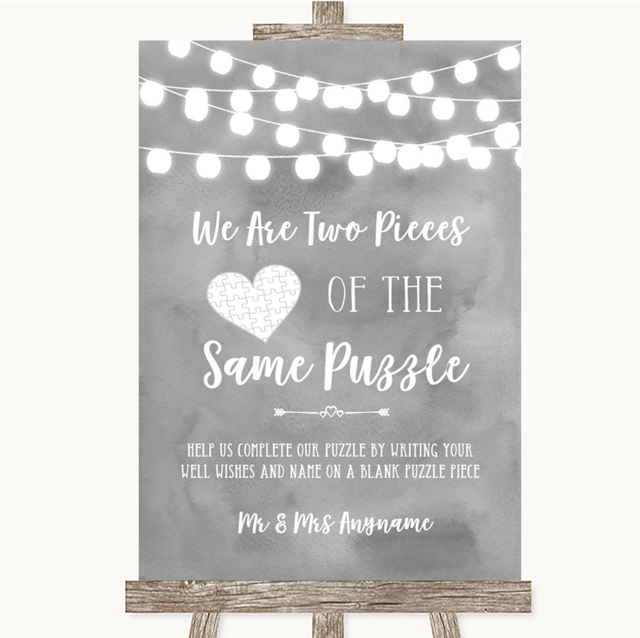 Grey Watercolour Lights Puzzle Piece Guest Book Customised Wedding Sign