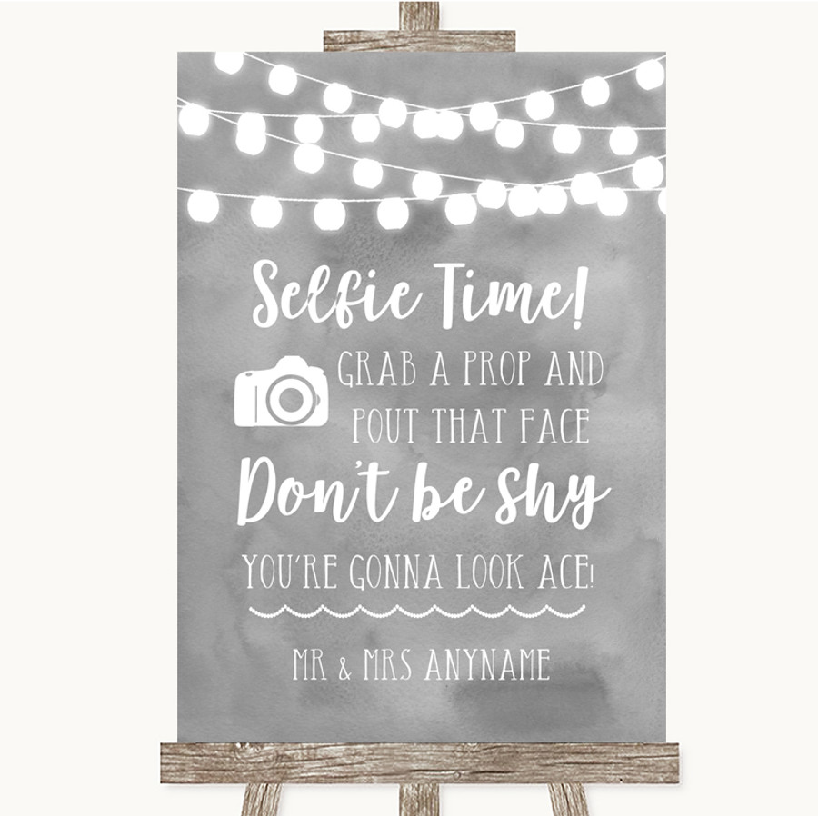Grey Watercolour Lights Selfie Photo Prop Customised Wedding Sign