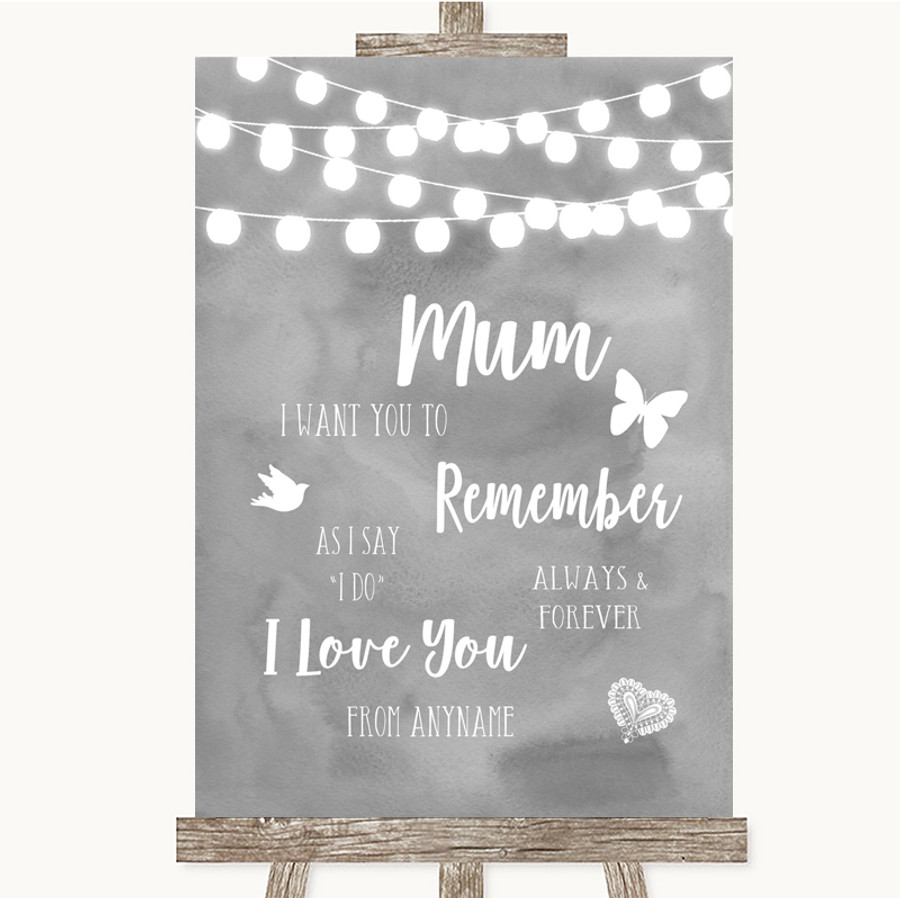 Grey Watercolour Lights I Love You Message For Mum Customised Wedding Sign