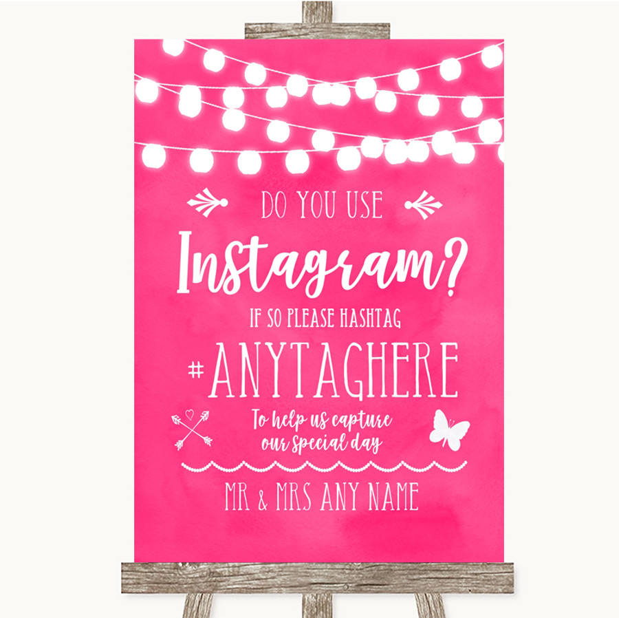 Hot Fuchsia Pink Watercolour Lights Instagram Photo Sharing Wedding Sign