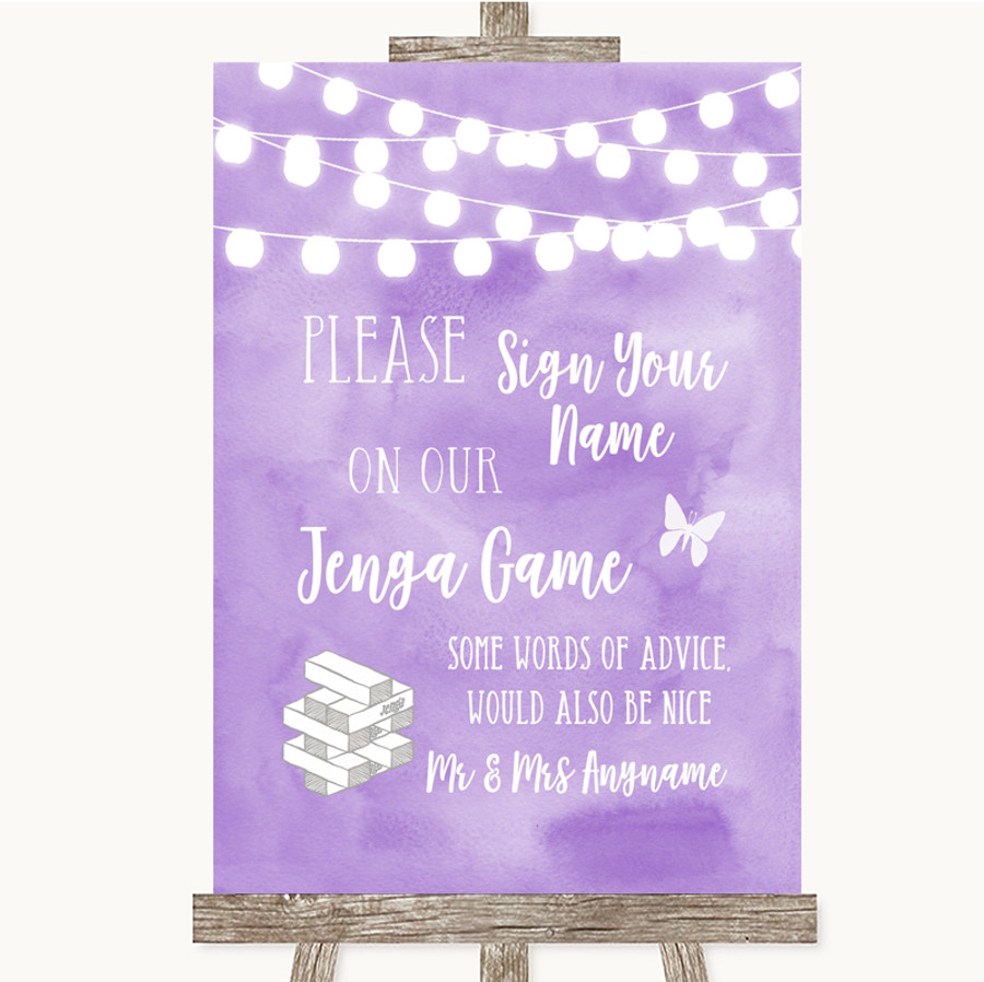 Lilac Watercolour Lights Jenga Guest Book Customised Wedding Sign