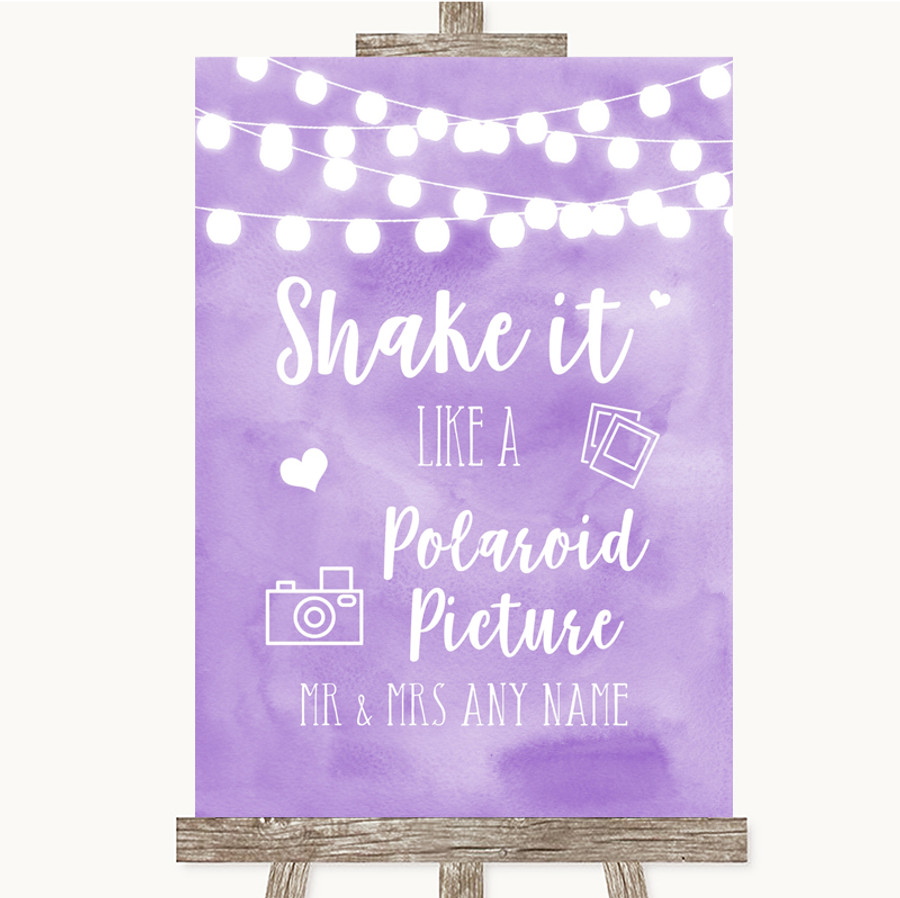 Lilac Watercolour Lights Polaroid Picture Customised Wedding Sign