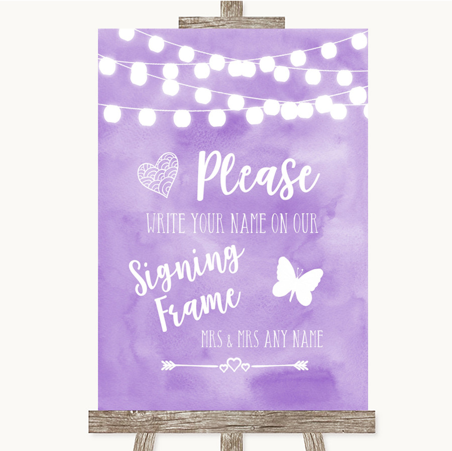 Lilac Watercolour Lights Signing Frame Guestbook Customised Wedding Sign