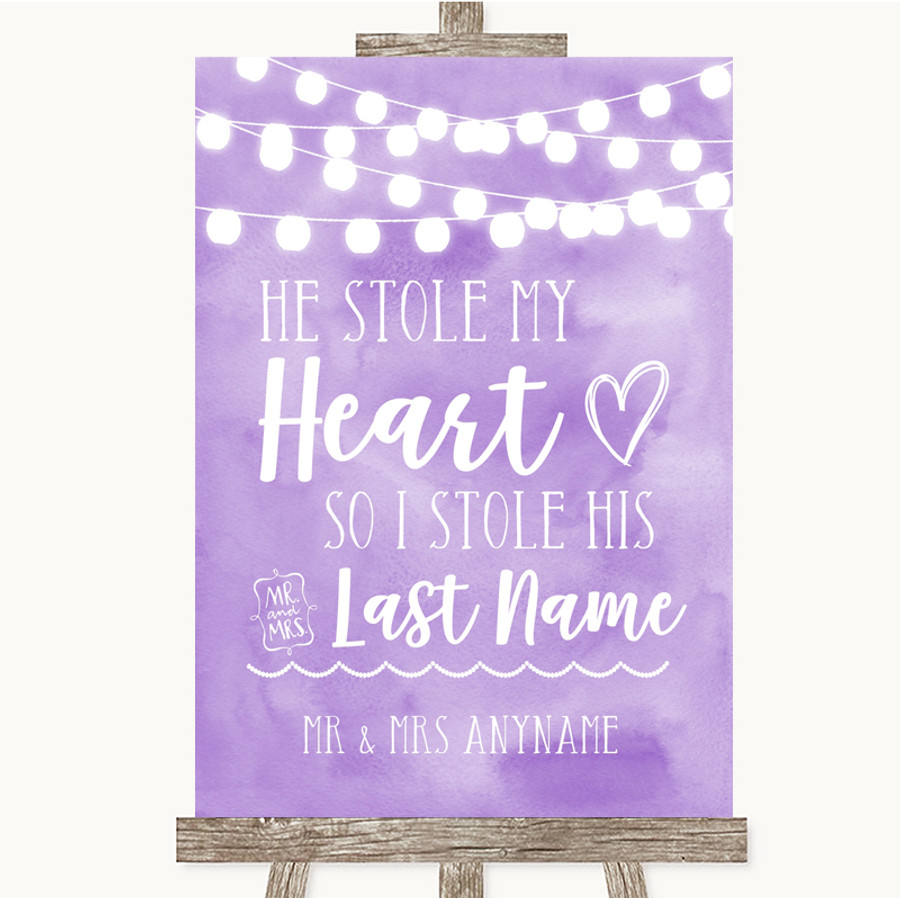 Lilac Watercolour Lights Stole Last Name Customised Wedding Sign