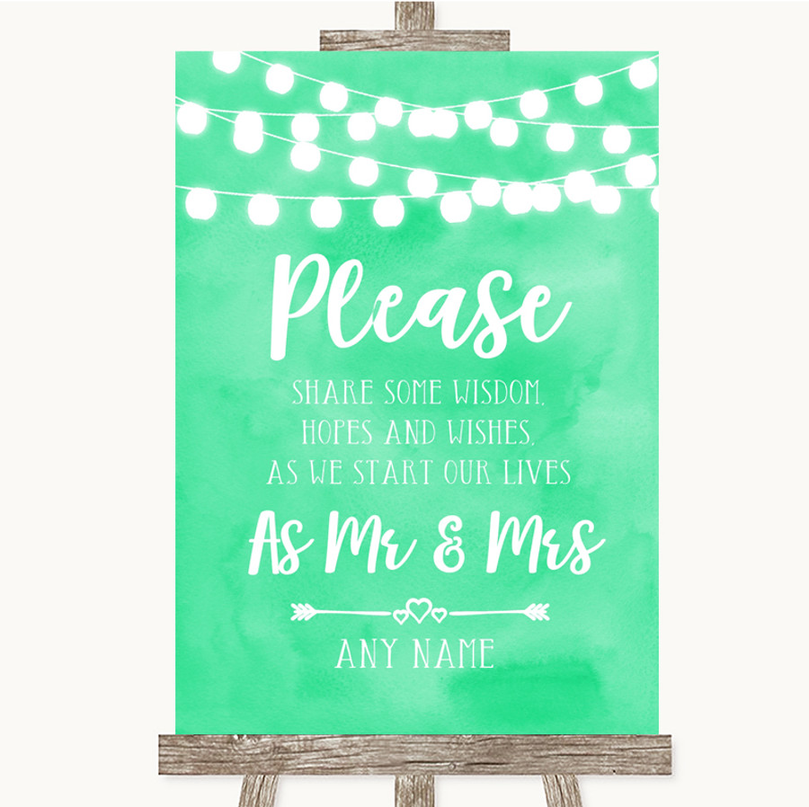 Mint Green Watercolour Lights Share Your Wishes Customised Wedding Sign