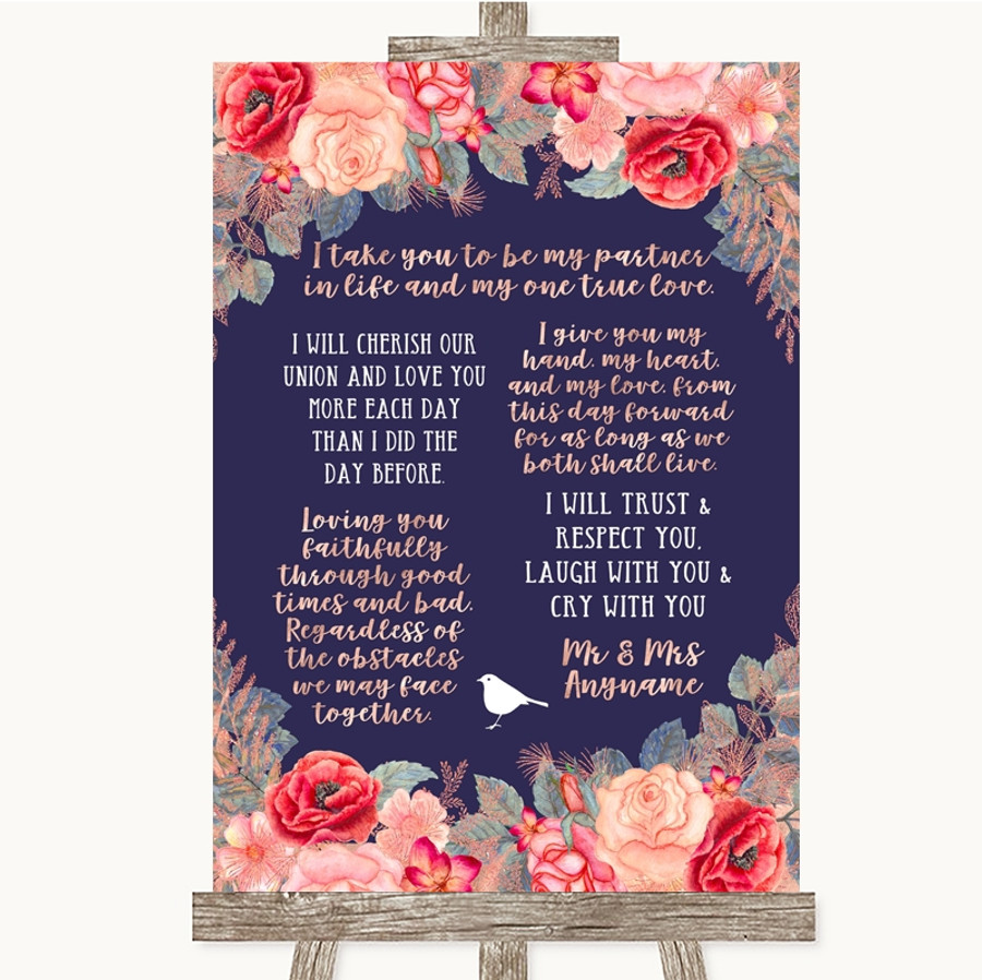 Navy Blue Blush Rose Gold Romantic Vows Customised Wedding Sign