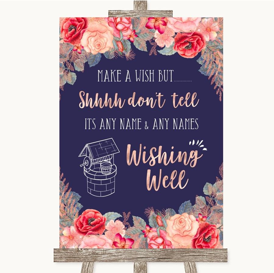 Navy Blue Blush Rose Gold Wishing Well Message Customised Wedding Sign