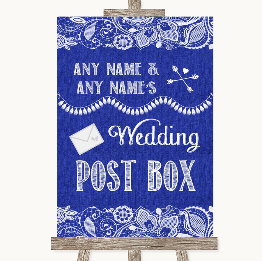 Navy Blue Burlap & Lace Card Post Box Customised Wedding Sign