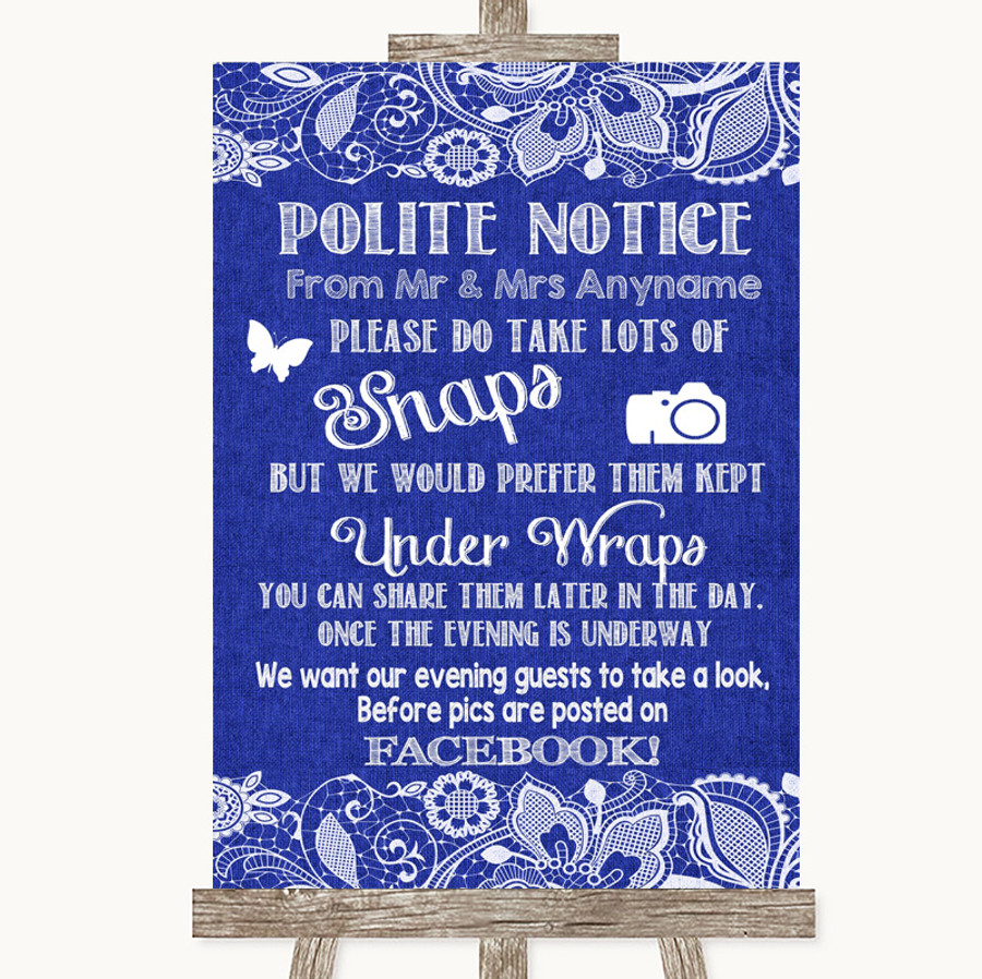 Navy Blue Burlap & Lace Don't Post Photos Facebook Customised Wedding Sign