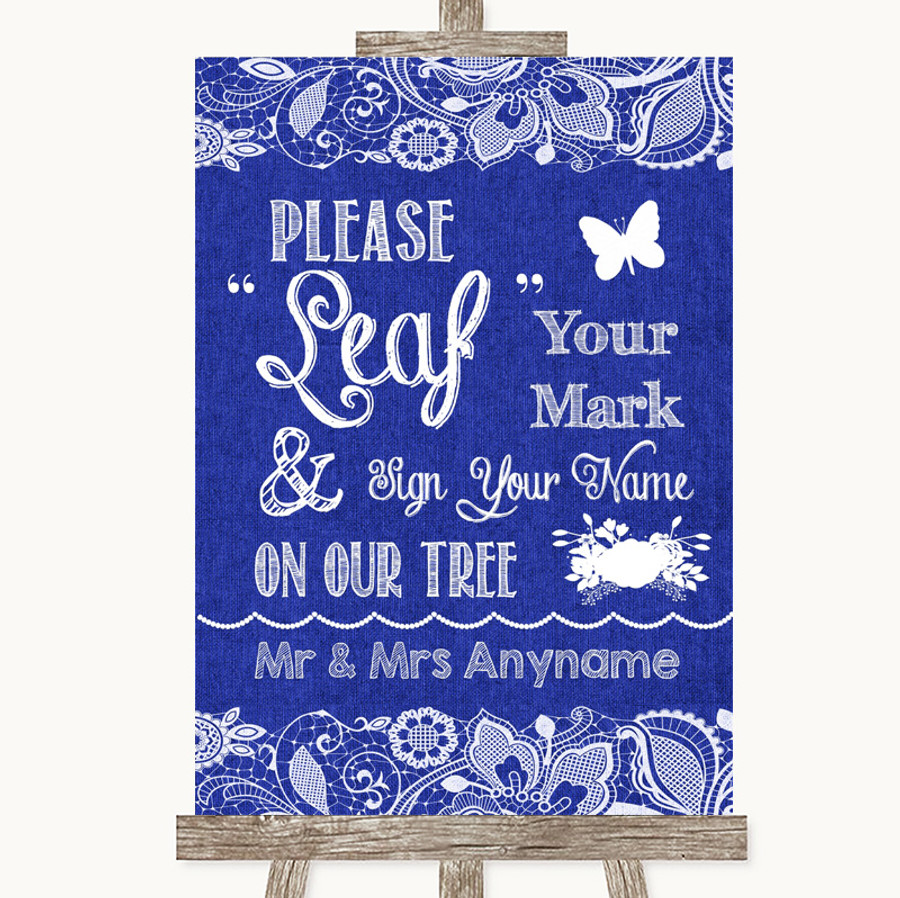 Navy Blue Burlap & Lace Fingerprint Tree Instructions Customised Wedding Sign
