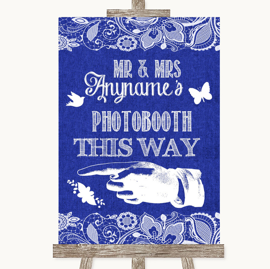 Navy Blue Burlap & Lace Photobooth This Way Left Customised Wedding Sign