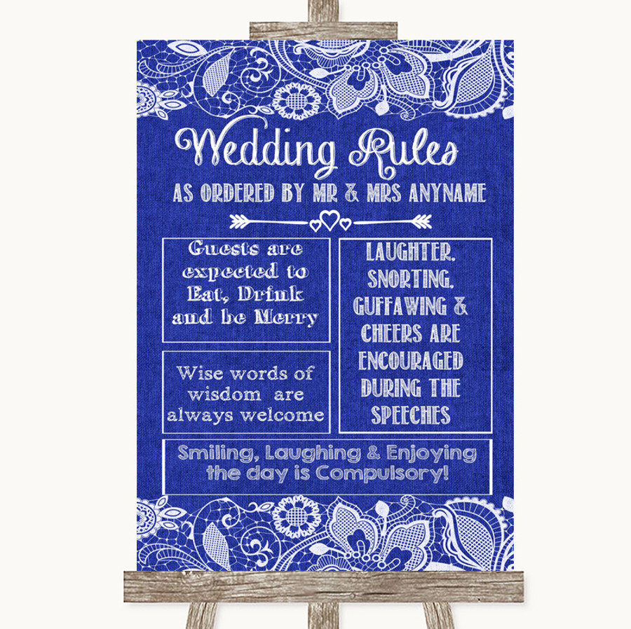 Navy Blue Burlap & Lace Rules Of The Wedding Customised Wedding Sign