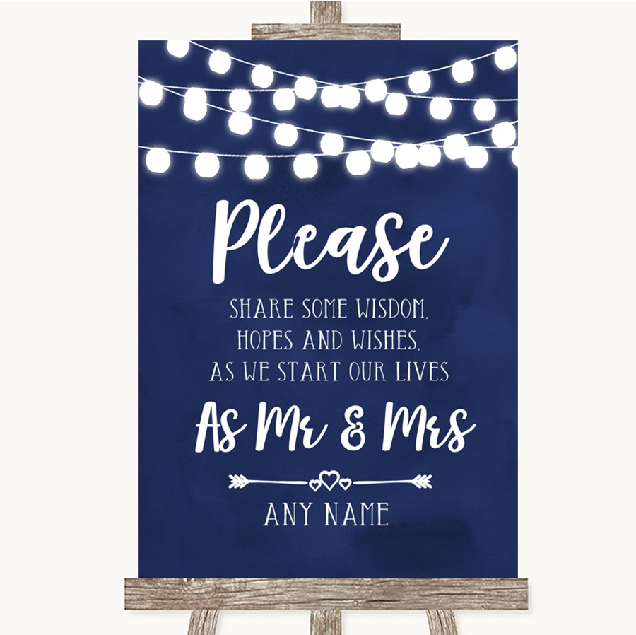 Navy Blue Watercolour Lights Share Your Wishes Customised Wedding Sign