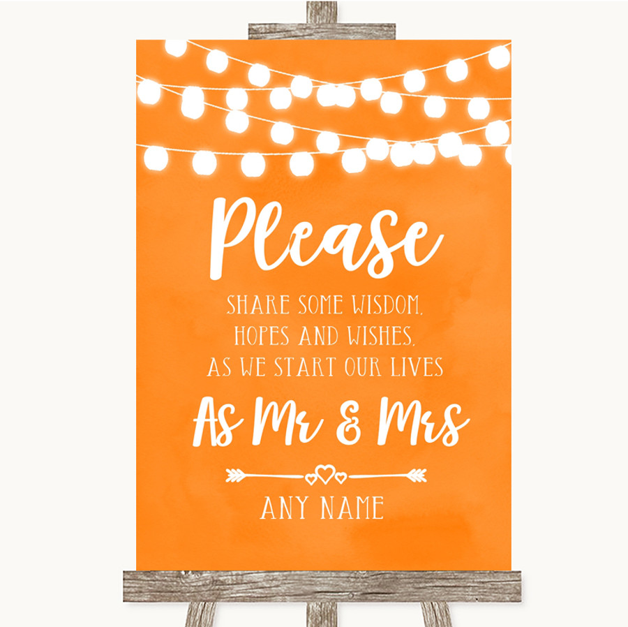 Orange Watercolour Lights Share Your Wishes Customised Wedding Sign