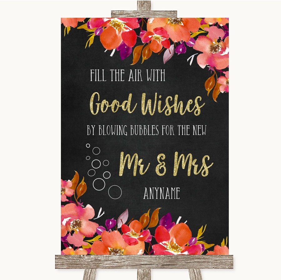 Pink Coral Orange & Purple Blow Bubbles Customised Wedding Sign