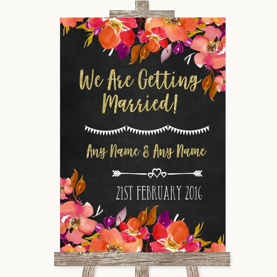 Pink Coral Orange & Purple We Are Getting Married Customised Wedding Sign