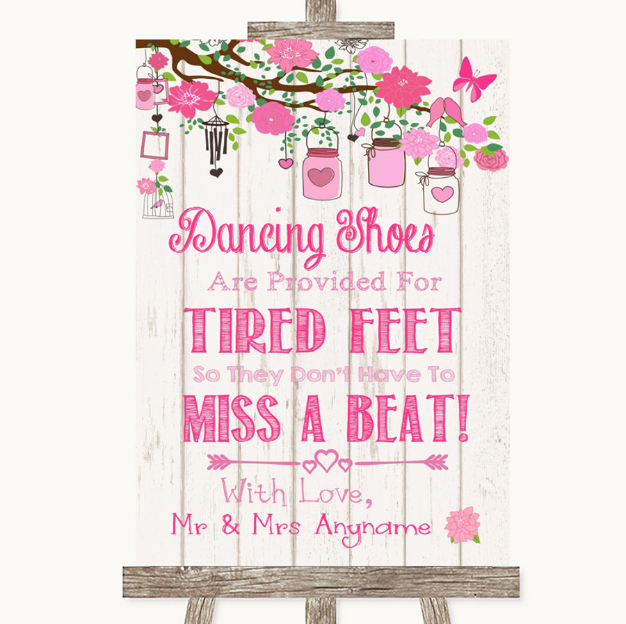 Pink Rustic Wood Dancing Shoes Flip-Flop Tired Feet Customised Wedding Sign