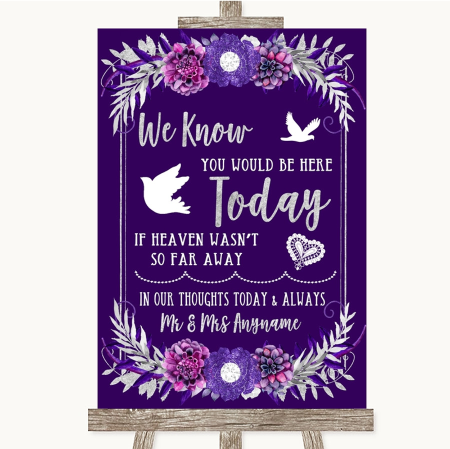 Purple & Silver Loved Ones In Heaven Customised Wedding Sign