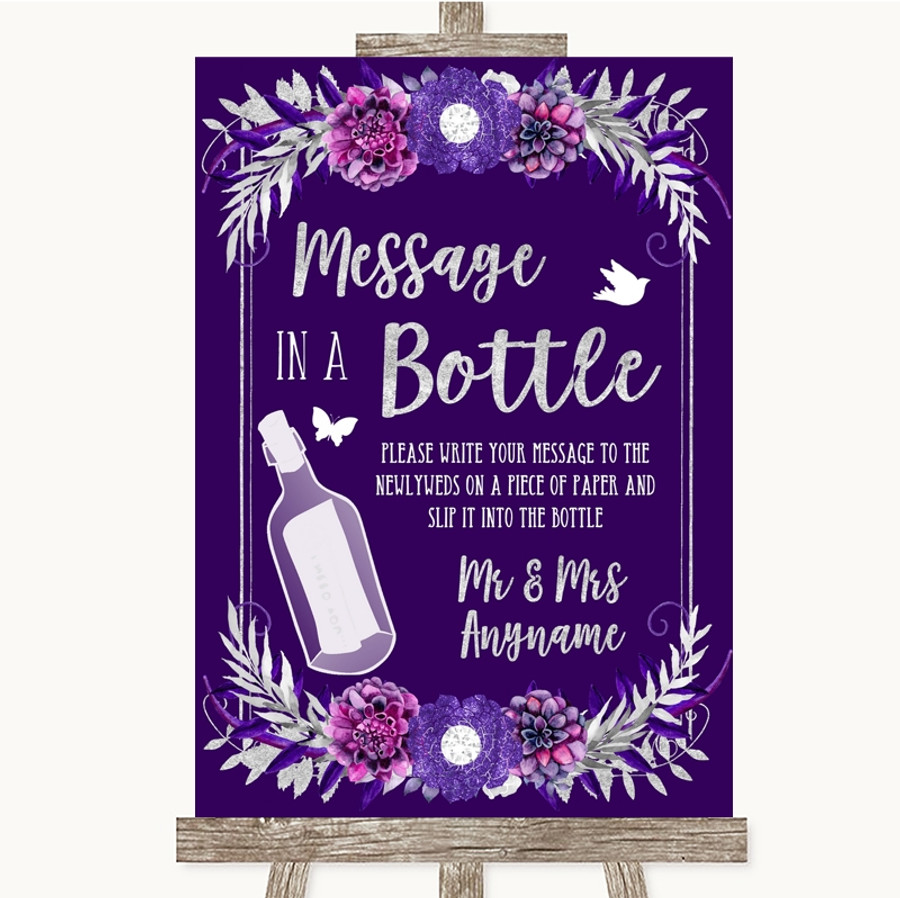 Purple & Silver Message In A Bottle Customised Wedding Sign