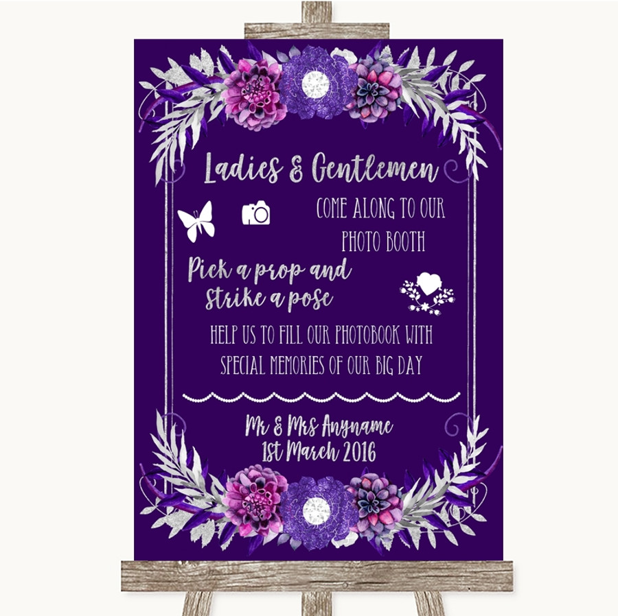 Purple & Silver Pick A Prop Photobooth Customised Wedding Sign