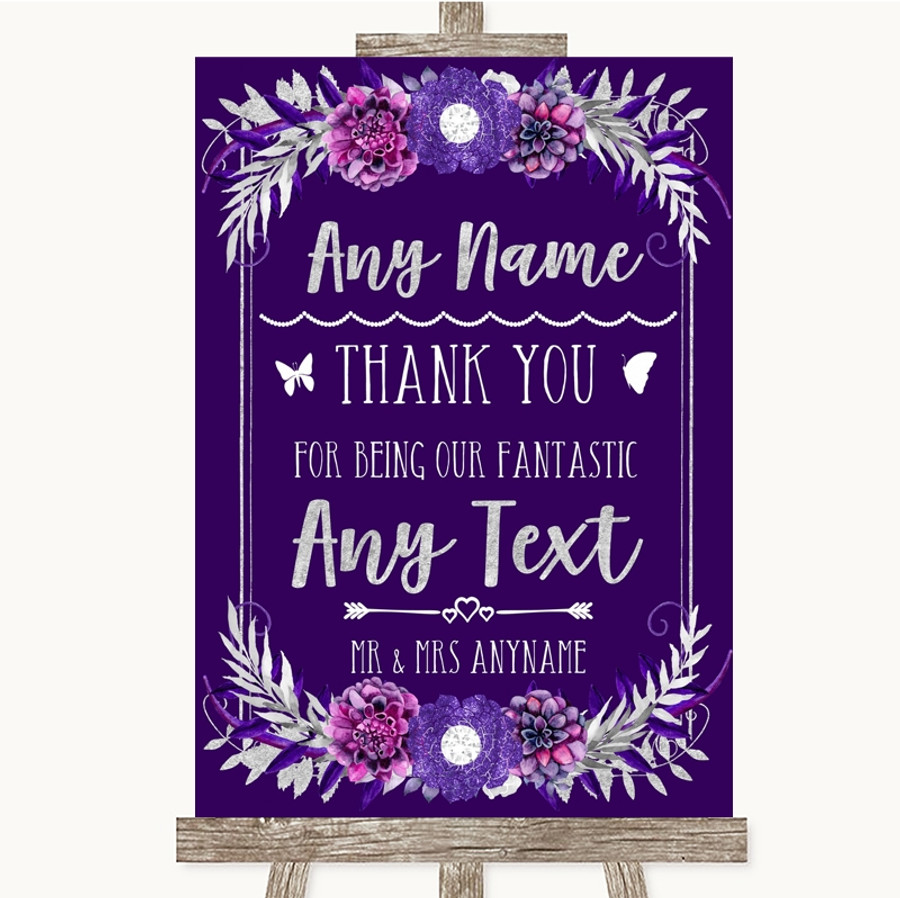 Purple & Silver Thank You Bridesmaid Page Boy Best Man Customised Wedding Sign