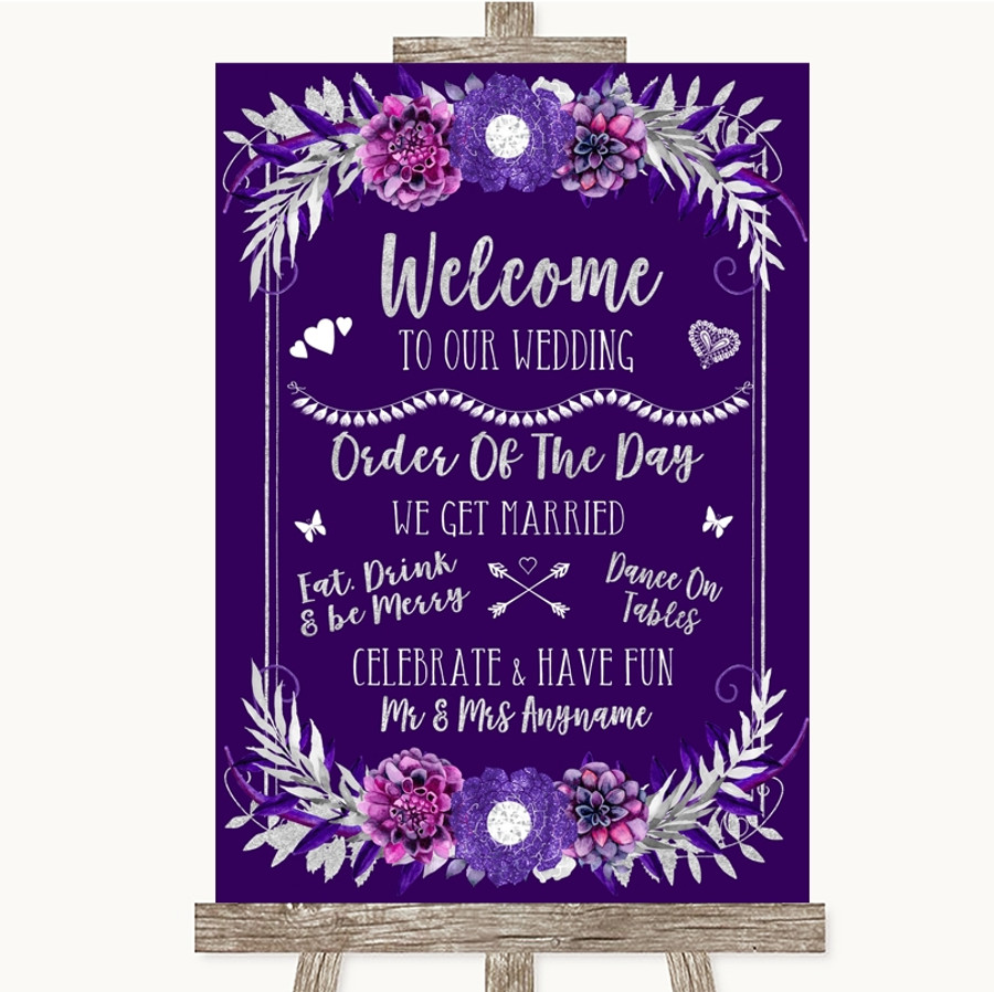 Purple & Silver Welcome Order Of The Day Customised Wedding Sign
