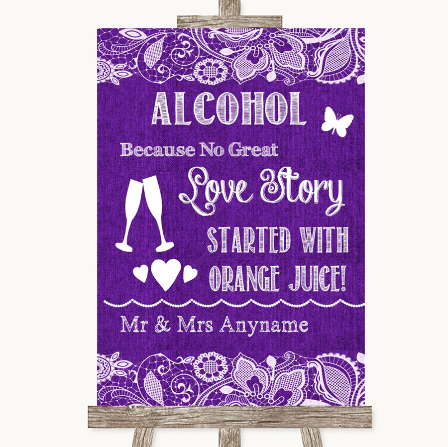 Purple Burlap & Lace Alcohol Bar Love Story Customised Wedding Sign