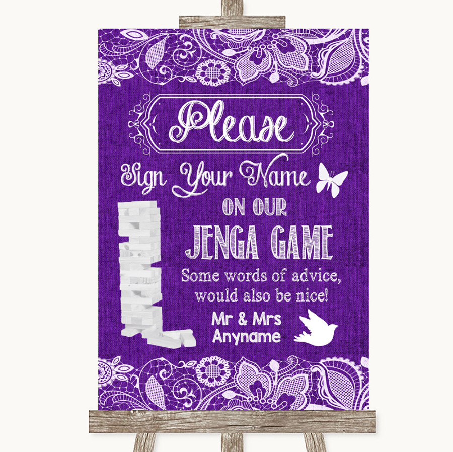 Purple Burlap & Lace Jenga Guest Book Customised Wedding Sign