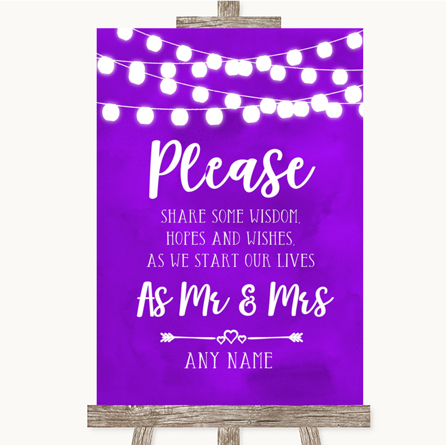 Purple Watercolour Lights Share Your Wishes Customised Wedding Sign