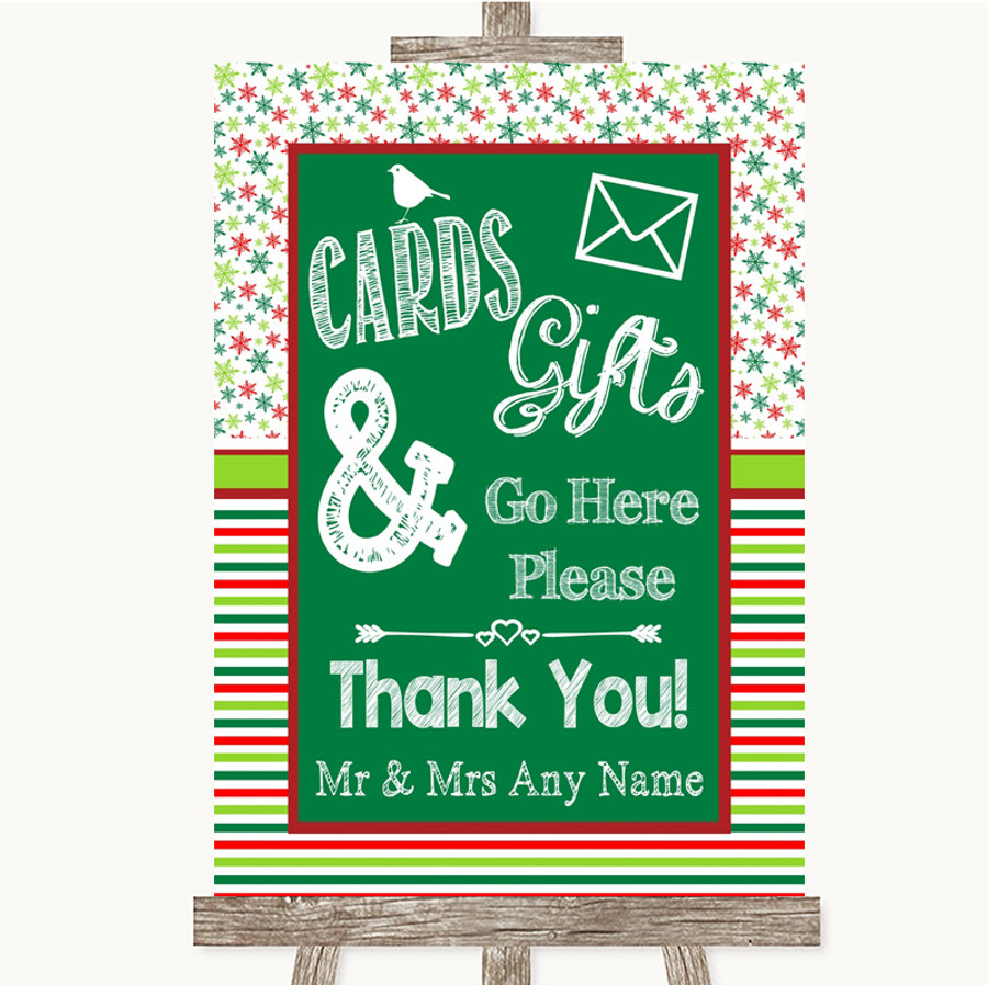 Red & Green Winter Cards & Gifts Table Customised Wedding Sign
