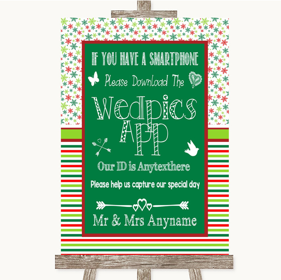 Red & Green Winter Wedpics App Photos Customised Wedding Sign