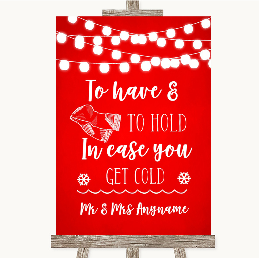 Red Watercolour Lights Wedding Blanket Scarf Customised Wedding Sign