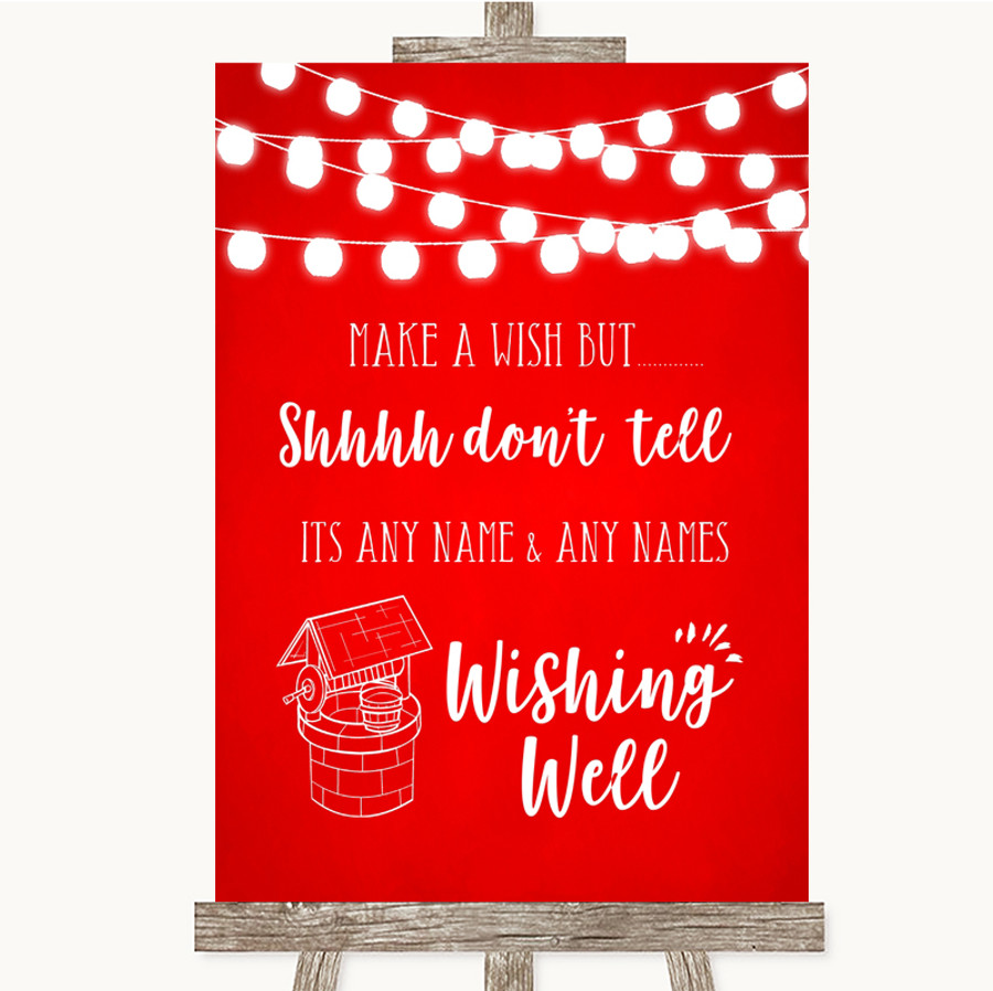 Red Watercolour Lights Wishing Well Message Customised Wedding Sign