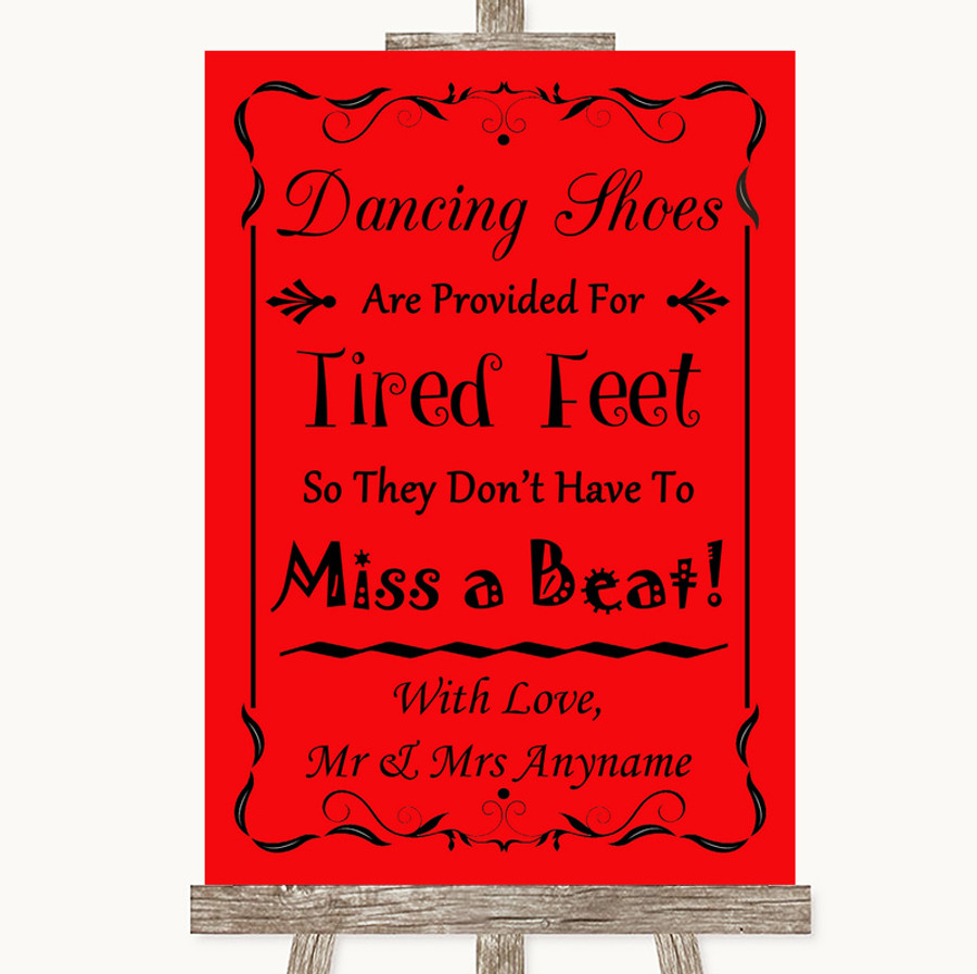 Red Dancing Shoes Flip-Flop Tired Feet Customised Wedding Sign