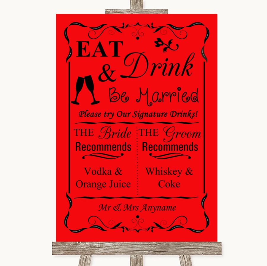 Red Signature Favourite Drinks Customised Wedding Sign
