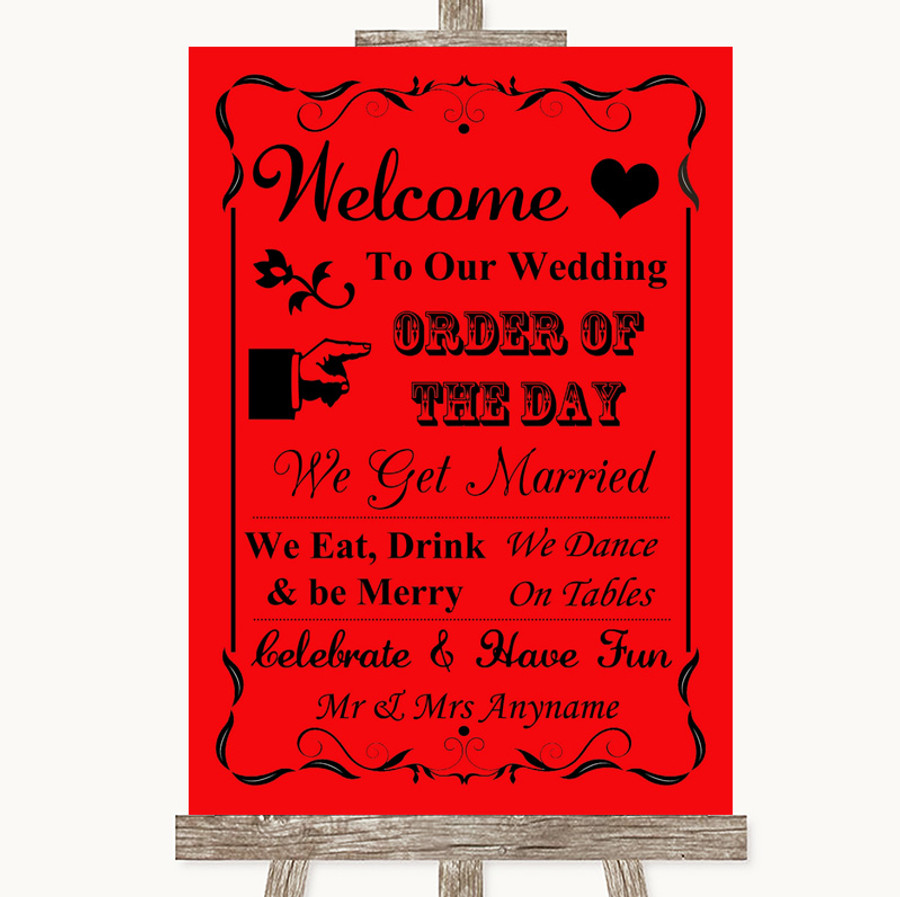 Red Welcome Order Of The Day Customised Wedding Sign