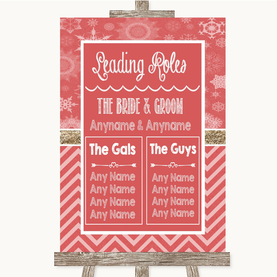 Red Winter Who's Who Leading Roles Customised Wedding Sign