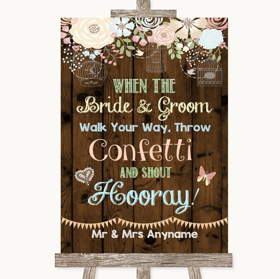 Rustic Floral Wood Confetti Customised Wedding Sign