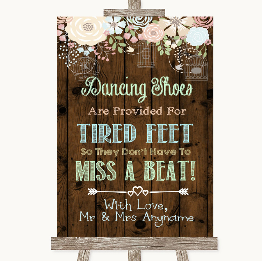 Rustic Floral Wood Dancing Shoes Flip-Flop Tired Feet Customised Wedding Sign