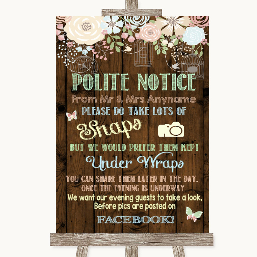 Rustic Floral Wood Don't Post Photos Facebook Customised Wedding Sign