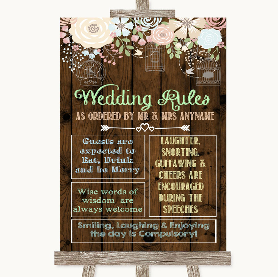 Rustic Floral Wood Rules Of The Wedding Customised Wedding Sign