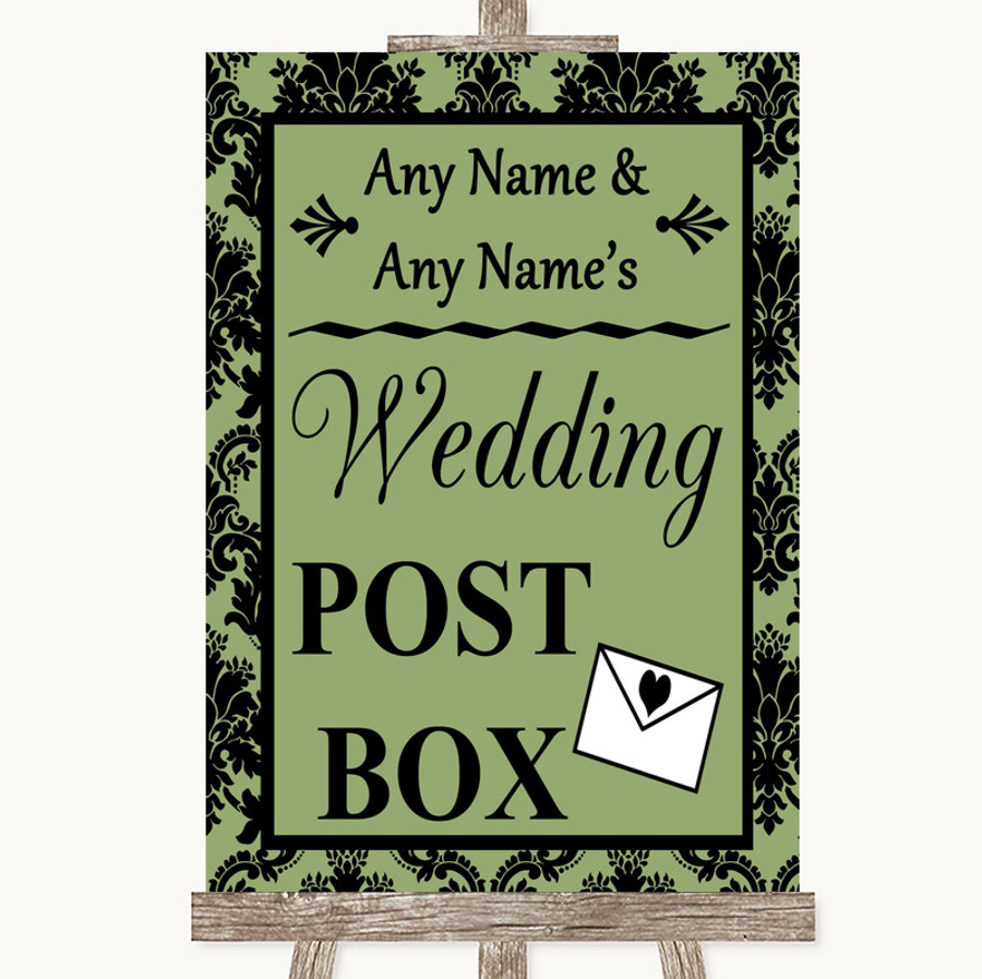 Sage Green Damask Card Post Box Customised Wedding Sign