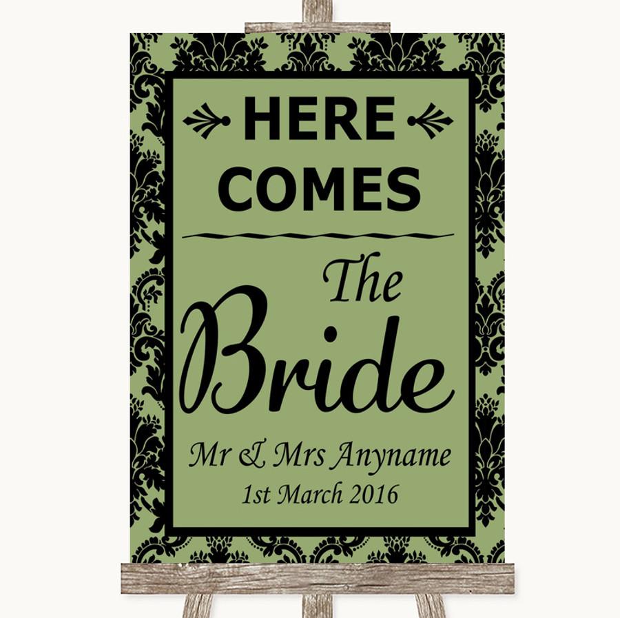 Sage Green Damask Here Comes Bride Aisle Sign Customised Wedding Sign