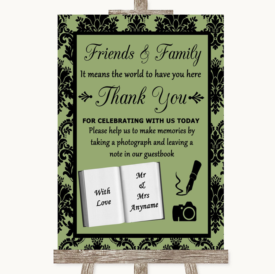 Sage Green Damask Photo Guestbook Friends & Family Customised Wedding Sign