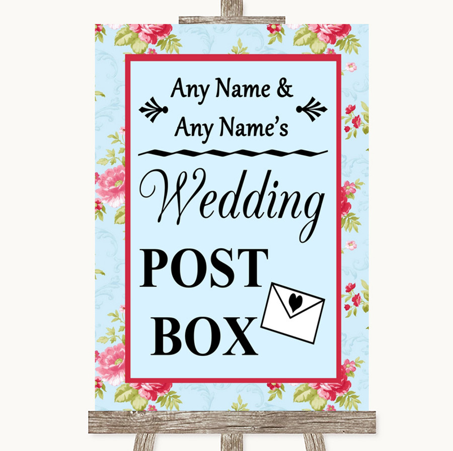 Shabby Chic Floral Card Post Box Customised Wedding Sign