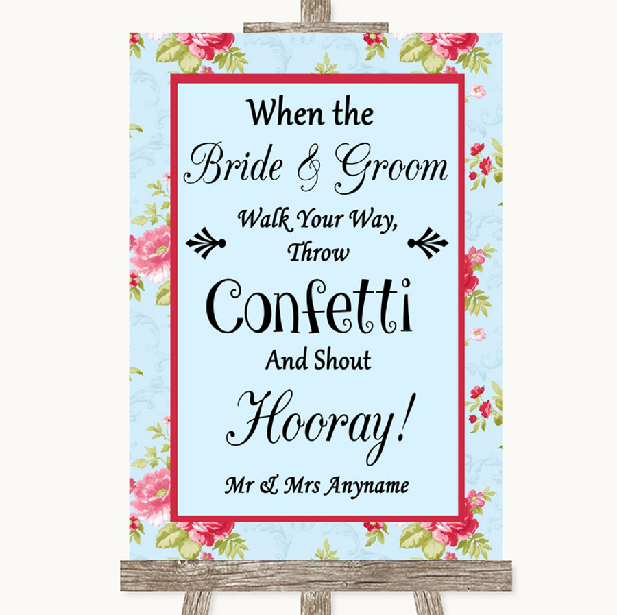Shabby Chic Floral Confetti Customised Wedding Sign