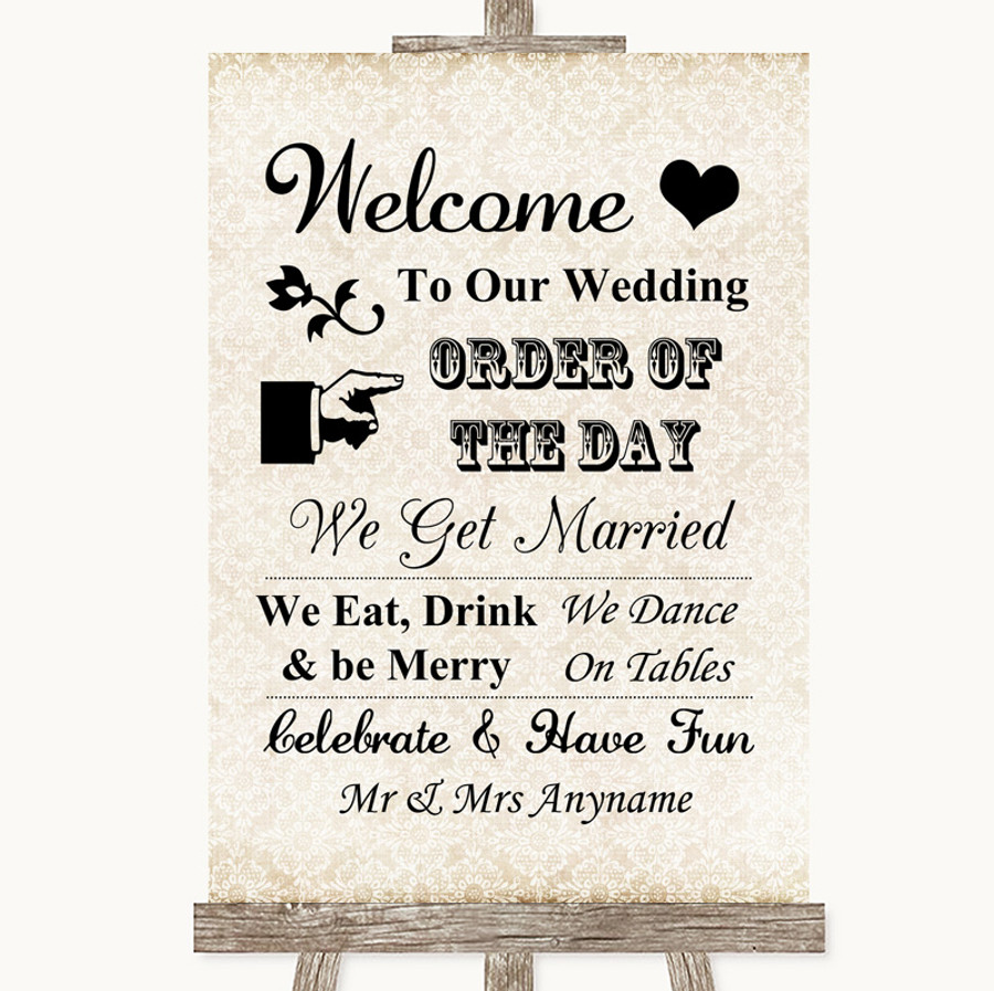 Shabby Chic Ivory Welcome Order Of The Day Customised Wedding Sign