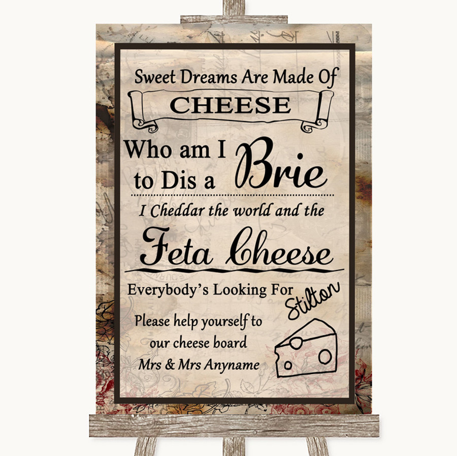 Vintage Cheese Board Song Customised Wedding Sign